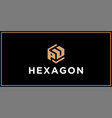 pu hexagon logo design inspiration vector image vector image