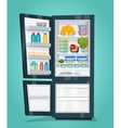 Refrigerator Full of Food in Flat Design vector image vector image