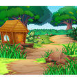 Scene with house in the woods vector image vector image