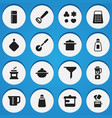 set of 16 editable meal icons includes symbols vector image vector image