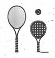 set of tennis rackets and tennis ball icon vector image