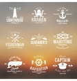 set vintage nautical labels or signs with retro vector image
