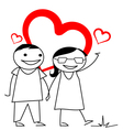 Stick couple with heart background vector image vector image