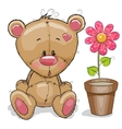 Teddy with flower vector image vector image