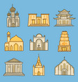 temple icon set hand drawn style vector image
