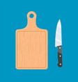 the cutting board and knife icon vector image vector image