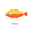 trout freshwater fish geometric flat style design vector image
