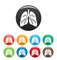 tuberculosis lungs icons set color vector image vector image