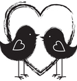 two birds in the heart vector image vector image