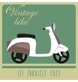 Vintage card of white scooter in retro style