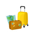 vintage suitcase with stickers travel bag on vector image