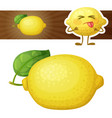 whole lemon fruit cartoon vector image vector image