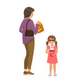 woman with young daughter going to watch movies vector image