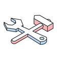 wrench and hammer linear isometric icon vector image