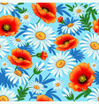 seamless bright with poppies and daisies for vector image