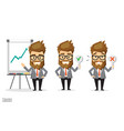 businessman hold up check and cross mark paper vector image