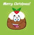 happy christmas pudding cartoon character vector image