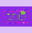 2019 new year text made number with spoon vector image vector image