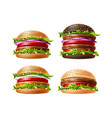 3d delicious burgers set fastfood snack vector image