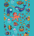 aquatic animals seamless pattern vector image vector image