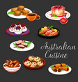 australian meat and fish with vegetables desserts vector image