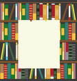 bookshelf and empty blank board vector image vector image