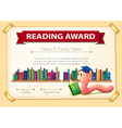 Certification template design with bookworm vector image vector image