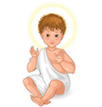 child jesus seated cartoon isolated on white vector image vector image