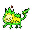 comic cartoon little fire demon vector image