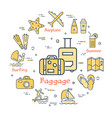 concept of summer time with baggage icon vector image vector image