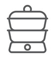 double boiler line icon kitchen and cooking vector image vector image