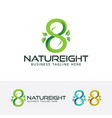 eight or infinity symbol and nature logo vector image vector image