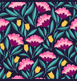 folk flowers bright seamless pattern vector image