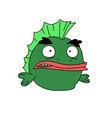 funny green fish character flat style frog with vector image vector image