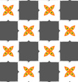 Geometrical ornament with gray squares and orange vector image vector image