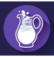 Glass milk jug with splash fresh vector image vector image