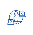 global network line icon concept global network vector image