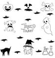 Halloween bat ghost in doodle vector image vector image