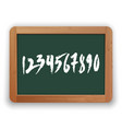 hand drawn numbers on green blackboard vector image vector image
