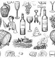 Hand drawn pattern of wine making vector image vector image