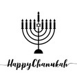 happy chanukah calligraphic with menorah vector image