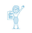 happy woman shows a document with inscription vector image vector image