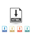 html file document icon download html button icon vector image