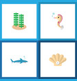 icon flat sea set of alga gray fish sea horse vector image vector image