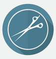 icon scissors on white circle with a long shadow vector image