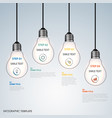 info graphic with hanging design bulbs template vector image vector image