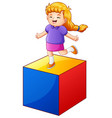little girl playing with colored block vector image vector image
