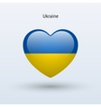 Love Ukraine symbol Heart flag icon vector image