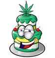 marijuana cake face cartoon isolated on white vector image vector image