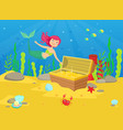 marine life with cute little mermaid and treasures vector image vector image